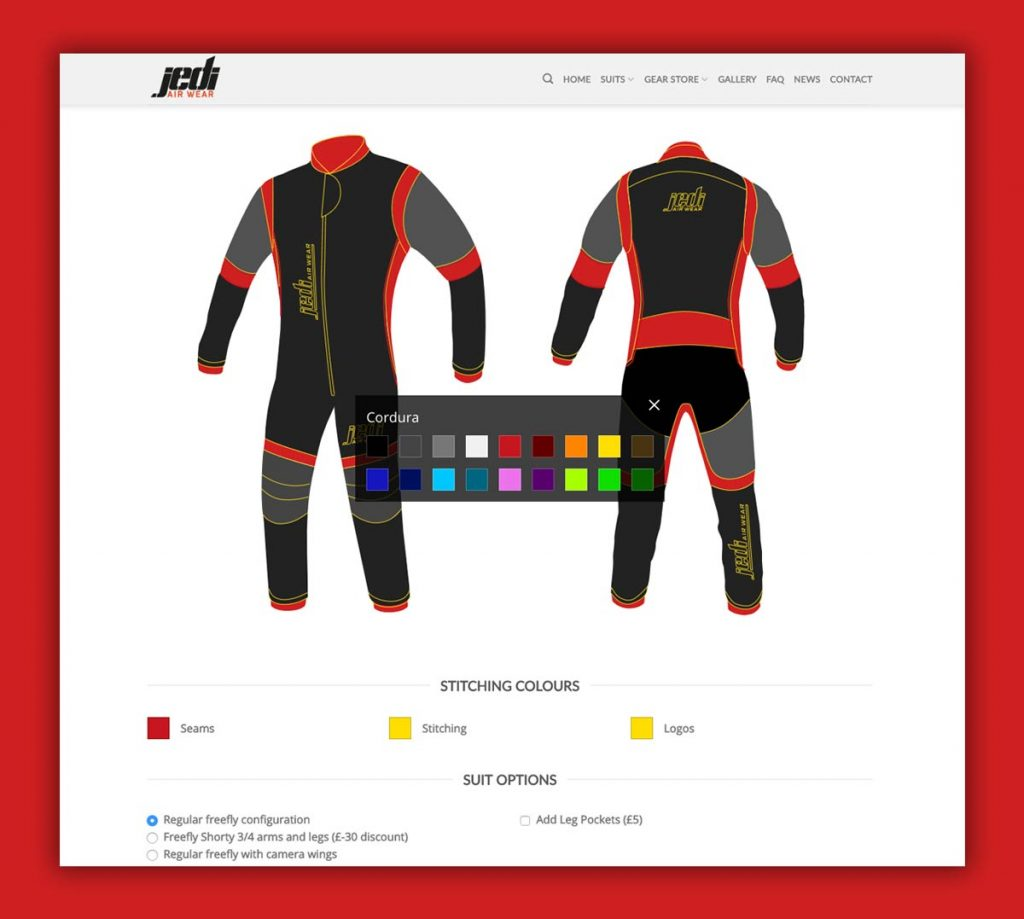 Interactive skydiving suit designer